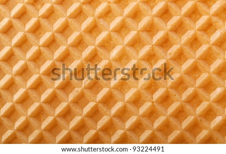 Structure of a baked golden waffle background - stock photo