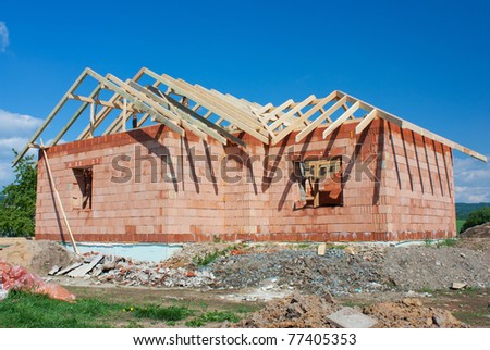 Structure of house in construction - stock photo