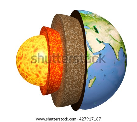 Structure of the Earth. Model isolated on white background. Elements of this image furnished by NASA. 3d render - stock photo