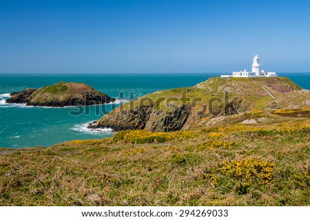 Strumble Head and the 1908 Lighthouse on the Pembrokeshire coast of Wales UK Europe - stock photo