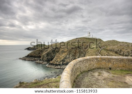 Strumble Head Lighthouse on the Pembrokeshire coast - stock photo