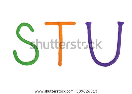 STU, handmade plasticine letters - stock photo