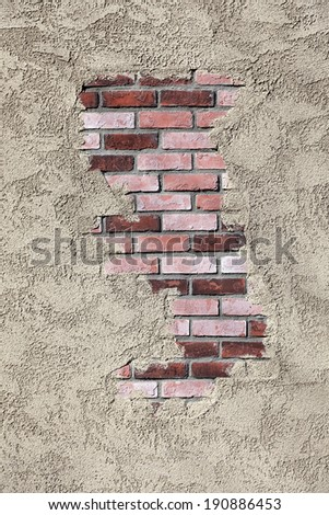 Stucco and Brick Wall Texture - stock photo