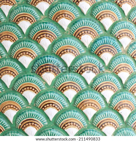 Stucco serpent skin art , Temple of  Thailand - stock photo