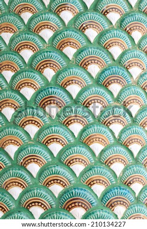 Stucco serpent skin in temple of Thailand - stock photo