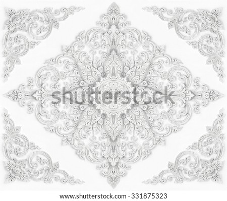 Stucco walls antique flower background - stock photo