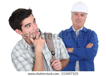 student and plumber - stock photo