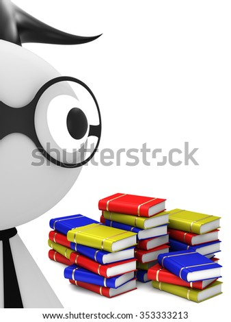 Student and stack of books - stock photo