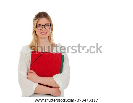 Student blonde girl with red folder isolated on a white background - stock photo