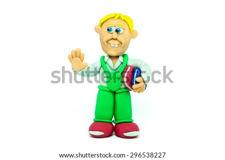 Student boy made in plasticine greeting - stock photo