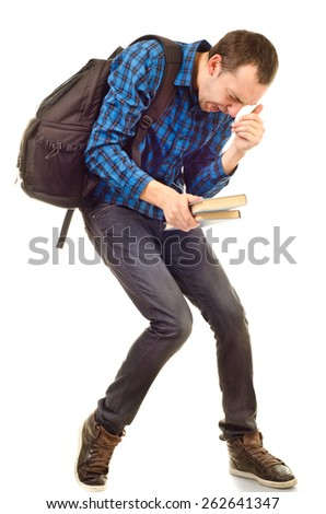 student boy with problem isolated on white - stock photo