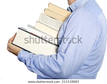 Student carries a pile of books, isolated on white - stock photo