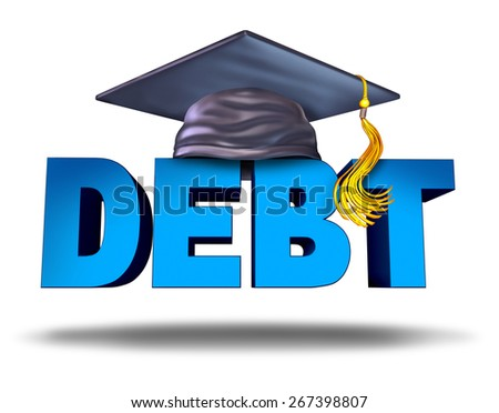 Student debt financial concept as a graduation mortar board on the word for school tuition loan repayment or lending and education financing for university and college students on a white background. - stock photo