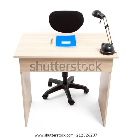 Student desk with school supplies with clipping path - stock photo