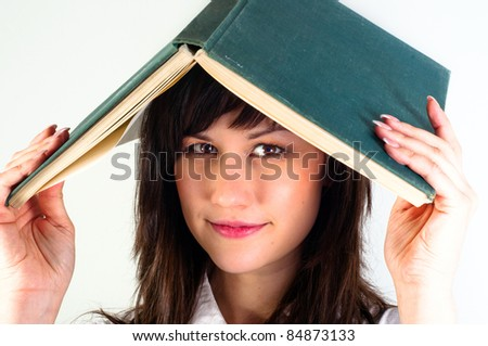 Student girl with joyful expression - stock photo