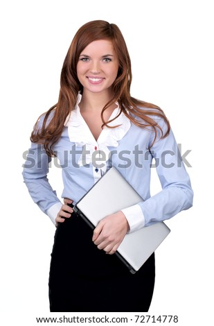 Student girl with modern laptop over white background - stock photo