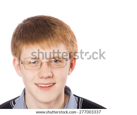 Student in glasses isolated on white - stock photo