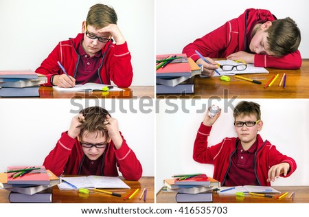 student in the classroom in different cases - stock photo