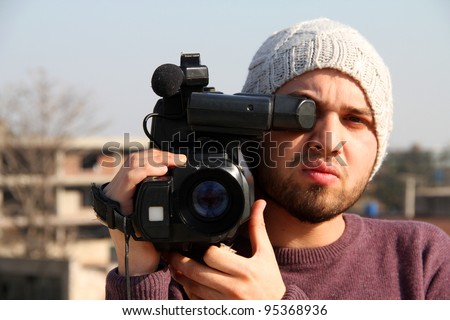 Student Learning Video Direction - stock photo