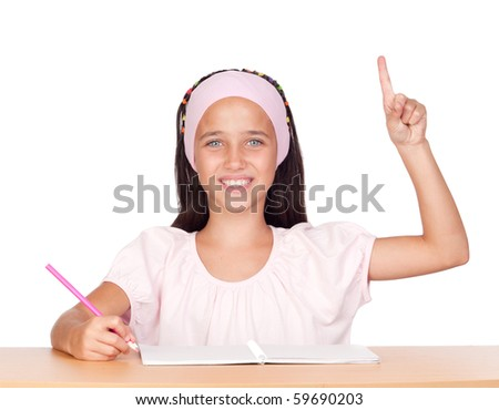 Student little girl with blue eyes isolated on white background - stock photo