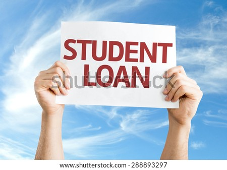 Student Loan card with sky background - stock photo