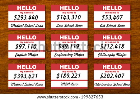 Student loan debt listed on table with name tags. - stock photo