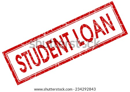 student loan red square stamp isolated on white background - stock photo
