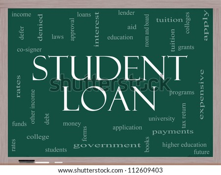 Student Loan Word Cloud Concept on a Blackboard with great terms such as education, tuition, grants, application, college, loans and more. - stock photo