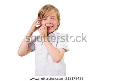 Student making a phone call on white background - stock photo