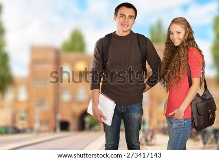 Student. Portrait of Two Teenage Students - Isolated - stock photo
