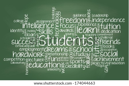 Student related tag cloud illustration - stock photo