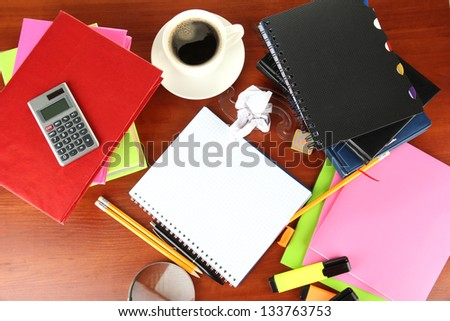 Student\'s workplace - stock photo