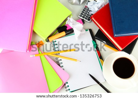 Student's workplace, isolated on white - stock photo