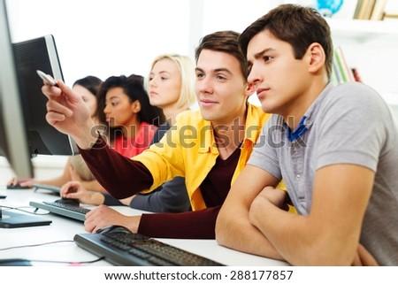 Student, school, tutor. - stock photo