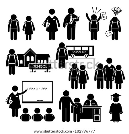 Student Teacher Headmaster School Children Stick Figure Pictogram Icon Clipart - stock photo