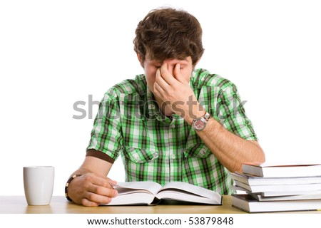 student tired of reading his books, isolated on white - stock photo
