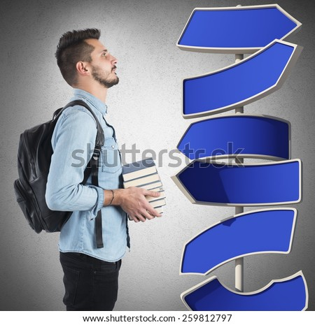 Student undecided on which study course undertaken - stock photo