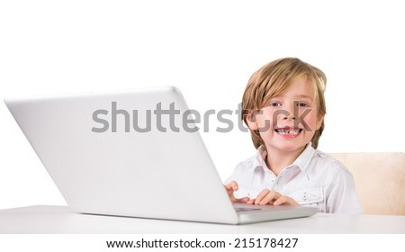Student using a laptop pc on white background - stock photo
