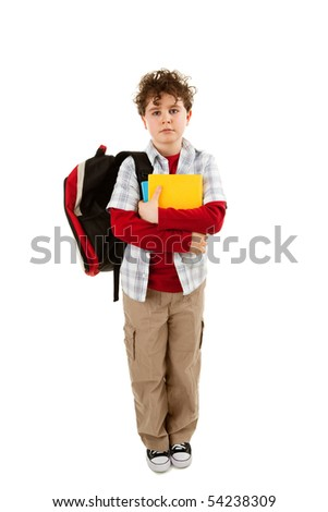 Student with backpack isolated on white - stock photo