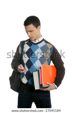 Student with bag, phone and books going school isolated on white - stock photo