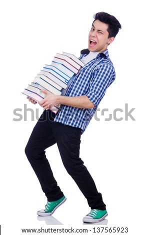 Student with lots of books on white - stock photo
