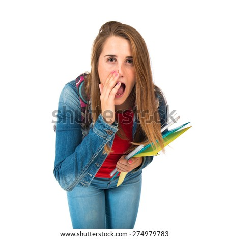 Student woman shouting over isolated white background - stock photo