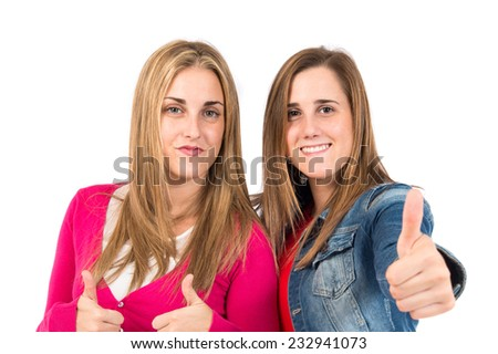 Student women making Ok sign over white background - stock photo