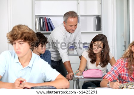 Students attending class - stock photo