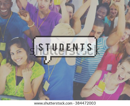 Students Education Learning Multiethnic Friends Concept - stock photo