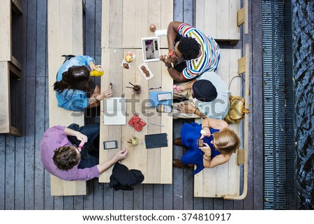 Students Friends Meeting Discussion Studying Concept - stock photo