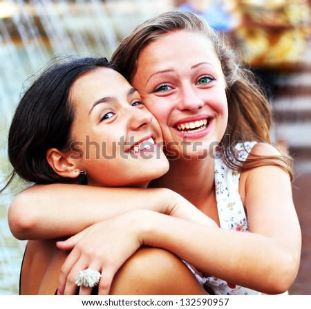Students girls having fun outside - stock photo