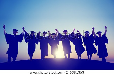 Students Graduation Success Achievement Celebration Happiness Concept - stock photo