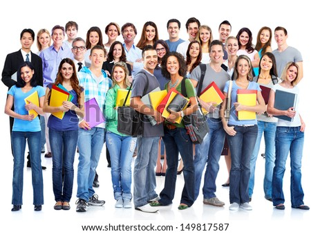 Students group.  Isolated over white background. Education. - stock photo