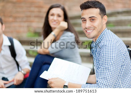 Students group outdoor - stock photo